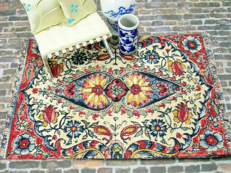 Dollhouse Miniature Rug Carpet Oriental Persian Red Cream Blue