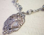 CAMELOT - Antiqued Silver and Swarovski Pearl/Crystal Necklace