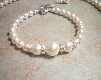 LISBETH - Bridal/Bridesmaid Bracelet - Swarovski White Pearls