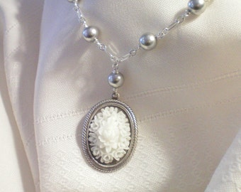HEAVEN - FLORAL CABOCHON AND SWAROVSKI PEARLS