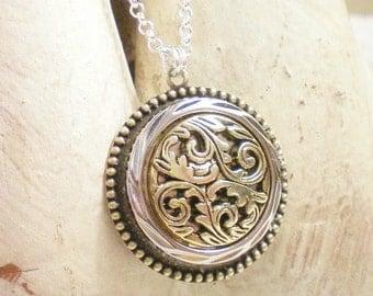 BECCA - Two Tone Filigree Button Necklace