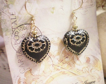 LOVE - CZECH GLASS ANTIQUED HEART EARRINGS