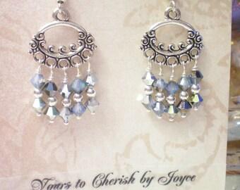 DREAMY - Swarovski Crystal and Antiqued Silver Chandelier Earrrings