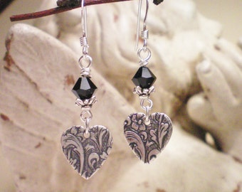 TAPESTRY - Antiqued Silver and Swarovski Crystal Earrings