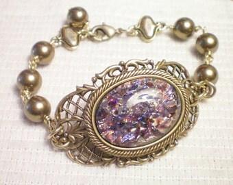 MARKELLA - Antiqued Brass Filigree Cabochon Bracelet