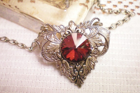 JEWEL - Swarovski Rivoli Crystal and Antiqued Brass Filigree Necklace