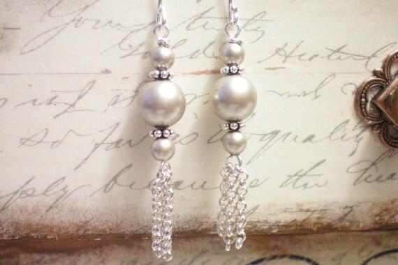 TASSEL SILVER  - Swarovski Pearl and Antiqued Silver Earrings