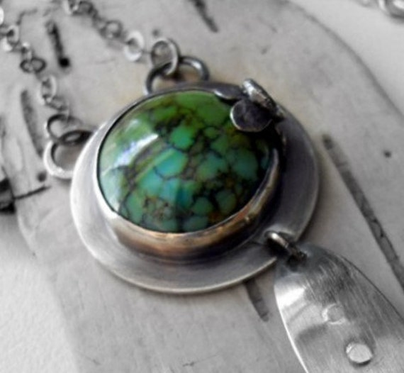SALE - - - - Turquoise Sterling Silver Necklace - Water Lily Bloom