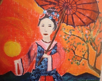 lady with the umbrella original painting