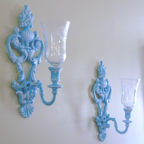 upcylced elegant whimsy wall sconces with glass votives