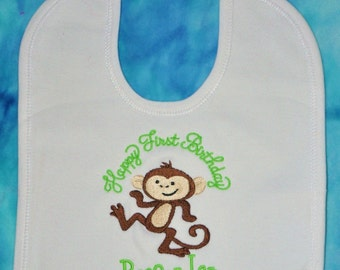 Boutique Quality, Happy First Birthday    FUNKY MONKEY   Custom, Personalized, Embroidered, Monogrammed, by Gingham Bunny