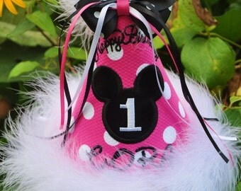 The ULTIMATE MINNIE Birthday HAT Boutique Quality, First Birthday Hat, Princess, Bow,  by Gingham Bunny