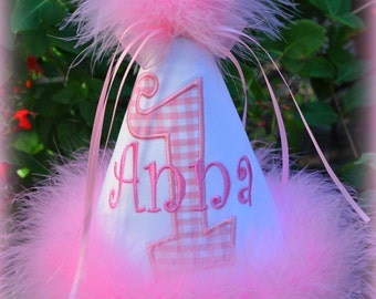 Custom, First Birthday Hat, Personalized, Birthday Hat, You Choose Colors,  by GINGHAM BUNNY EMBROIDERY