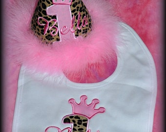 2 Piece Set, Princess Number CROWN First Birthday Hat, and  Bib,  You choose colors,  by GINGHAM BUNNY