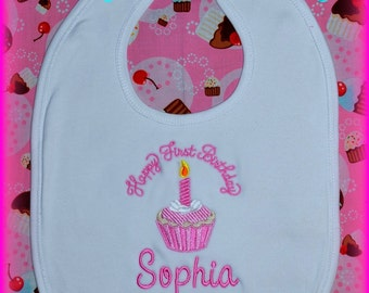 Cake Smash Bib, First Birthday Bib, Birthday Bib, Cupcake Bib, 1st Birthday Bib, Baby Birthday Gift, Baby Gift, Baby Gift Idea,  Baby Gift