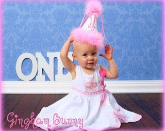 Custom, First Birthday Hat, Personalized,  2nd Birthday Hat, You Choose Colors,  by GINGHAM BUNNY EMBROIDERY