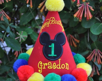 2 PC SET Boutique Quality, Mickey First Birthday Hat  and Bib, w/ Appliqued Head, Embroidery, Custom,  Handmade, by Gingham Bunny
