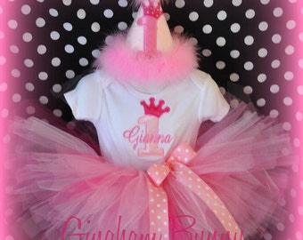 5 Piece Set, Crown Princess Hat, Bib, Bodysuit, Ribbon Bloomers and TUTU,, First Birthday Hat,You Choose Colors, by GINGHAM BUNNY