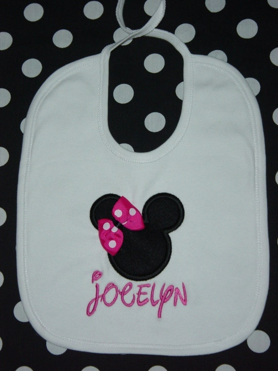 Personalized,  MINNIE MOUSE BIB,  (First Birthday Party Hats and Bloomers are Available to match), Applique, Monogrammed, RED, HOT PINK, LIGHT PINK Bow or Writing, your choice, match to Disney Partyware,  by GINGHAM BUNNY EMBROIDERY