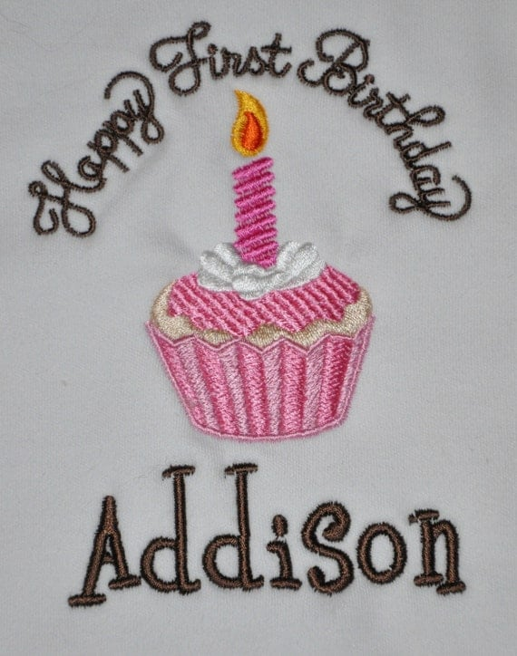 Chocolate, Pink, Happy First Birthday Bib, Cupcake, You Choose Colors,  Custom,  Monogrammed, by GINGHAM BUNNY,