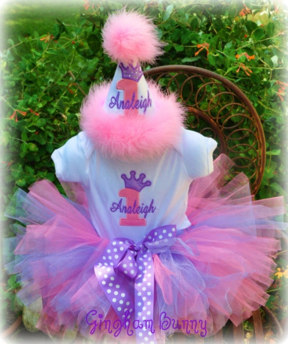 3 Piece Set, Crown Princess Hat,  or  Cupcake Onesie and TUTU, First Birthday Hat,You Choose Colors, Great Photo Props by GINGHAM BUNNY