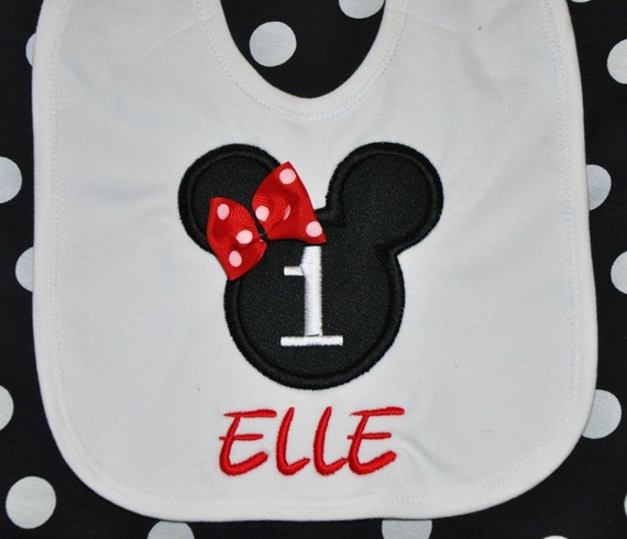 Personalized, LARGE HEAD,  MINNIE MOUSE BIB,  (First Birthday Party Hats and Bloomers are Available to match), Applique, Monogrammed, RED, HOT PINK, LIGHT PINK Bow or Writing, your choice, match to Disney Partyware,  by GINGHAM BUNNY EMBROIDERY