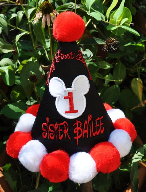 Boutique Quality, Mickey First Birthday Hat w/ APPLIQUED HEAD,   Gingham Bunny