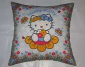 Hello Kitty Throw Pillow on Powder Blue 14 X14