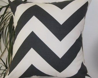 Chevron ZIPPY Charcoal Pillow Cover - Designer Pillow Cover- Pillowcase