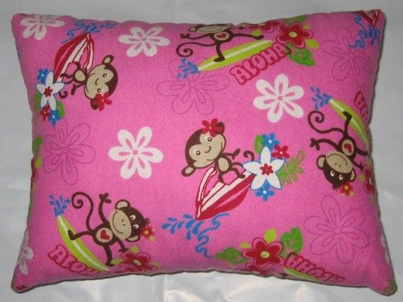 SALE - Aloha Monkey Cotton Flannel - Travel Pillow/ Toddler Pillow