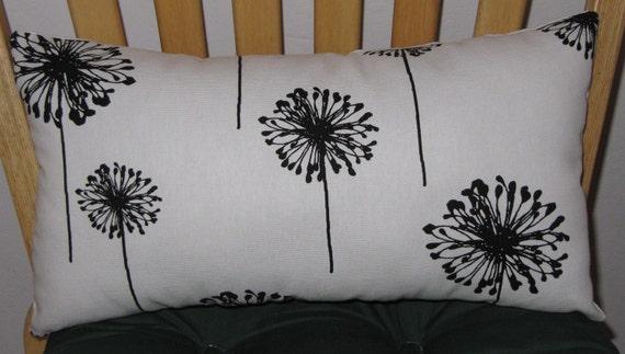 Decorative Throw Pillow/Lumbar Pillow White Black Dandelion