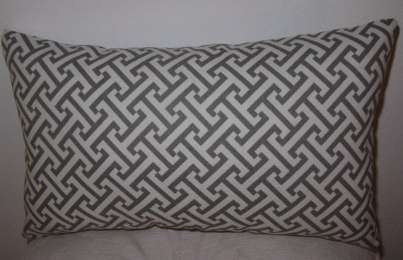Lumbar Pillow- Decor Pillow Greek Key Designer Charcoal/White