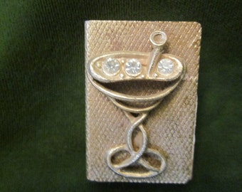 Vintage Gold Match Box With Martini Glass
