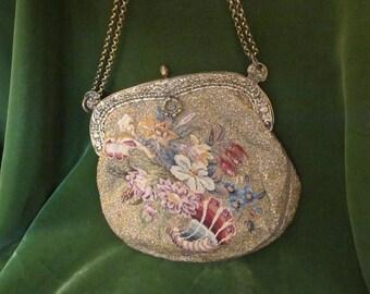 Antique Handbag with Floral Design and engraved Frame
