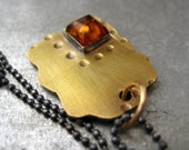Caramela pendant with Amber,Brass and Sterling silver