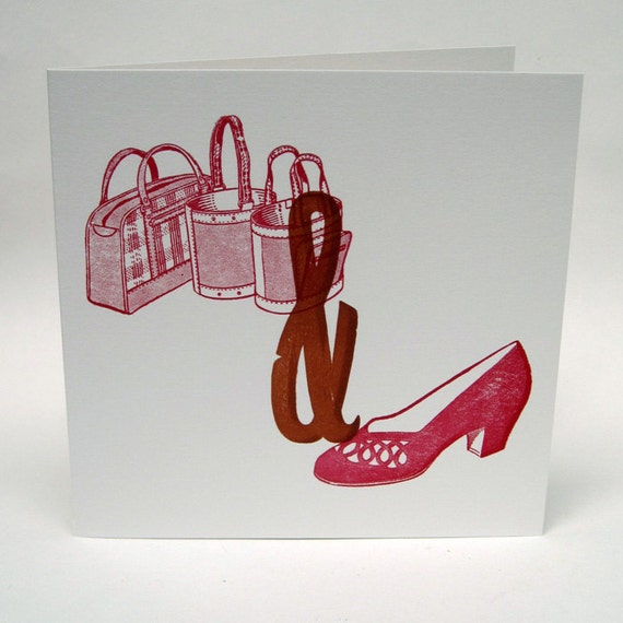 Letterpress Woodblock card - Bags and Shoes