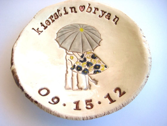 Couple Under Umbrella Dish