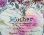 """vintage TATTOO PILLOW COVER --Mother-- 16x15"""" square-ish  (cover only)"""