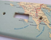 vintage map GREECE light switch plate