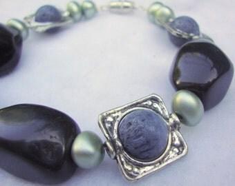SLATE expandable silver tones bracelet