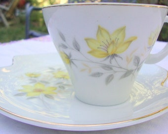 vintage NIPPON YOKI BOEKI lunceheon plate and teacup --cup and saucer-- yellow floral