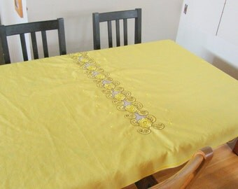 vintage TABLECLOTH --embroidered--  unusual  (unfinished edges)  YELLOW 53 x 44