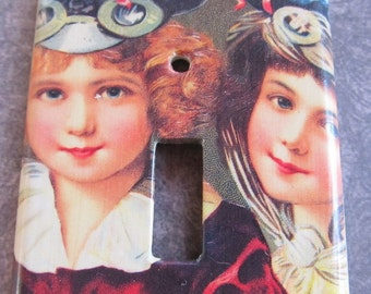 victorian TWO GIRLS light switch plate