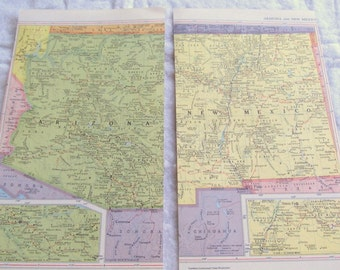 VINTAGE MAPS -- Arizona and New Mexico (1 page each)