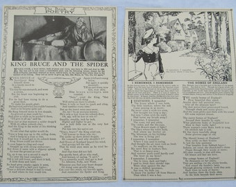 "NURSERY RHYMES-  ""Little verses for very little people"",  etc   antique book pages- ""Book of Knowledge""-1912   poem and nursery rhyme page-"