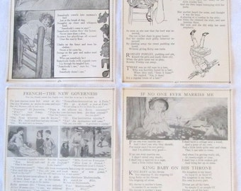 "CHILDHOOD TALES --nursery rhymes and French stories--  antique prints from ""Book of Knowledge"" 1912 (4 pages)"