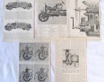 "MECHANICAL PARTS-  Automobile, carburetor, engine, chassis-- antique prints-- ""Book of Knowledge"" 1912"