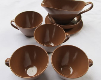vintage COCOA BROWN MELMAC --dishes-- lot of 4 cups, 1 sauce/gravy boat, 1 vegetable serving bowl, 1 saucer