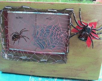 SPIDER WEB framed vintage childrens game pieces  -- 5x7 inch wooden frame