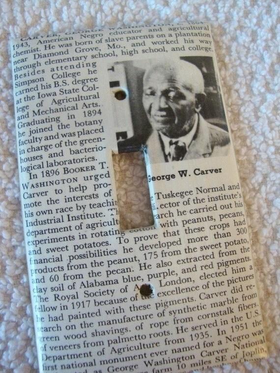 vintage text GEORGE WASHINGTON CARVER light switch plate